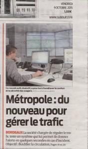 20151009-SudOuest-1ère page-Métropole du nouveau pour gérer le trafic-Gertrude