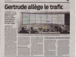 Article de presse Sud Ouest - 09 octobre 2015